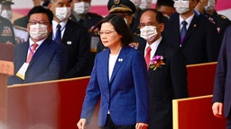 Taiwan's President Tsai Ing-wen attends national day celebrations in front of the Presidential Palace in Taipei on October 10, 2021.